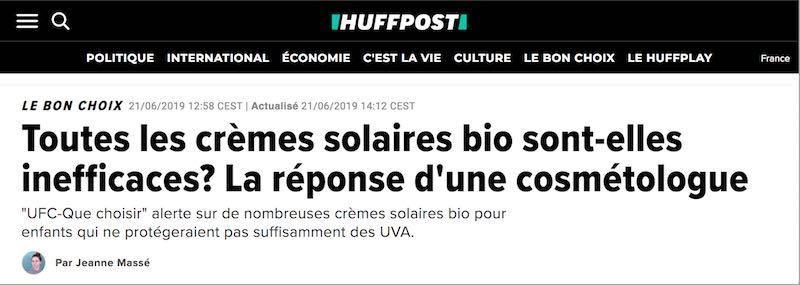 Toutes les crèmes solaires bio sont-elles inefficaces ? par Huffpost