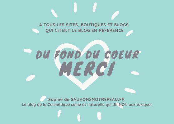 Merci à tous les sites, boutiques et blogs qui citent le blog sauvonsnotrepeau.fr en référence