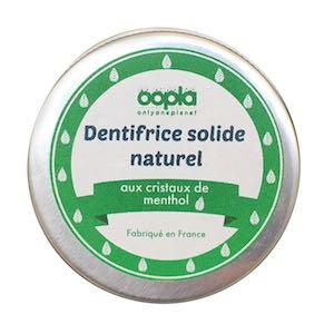 Dentifrice solide naturel aux cristaux de Menthol Oopla